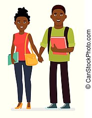 Young afro american couple of students with books and school bags in a white background. Cartoon vector character illustration.
