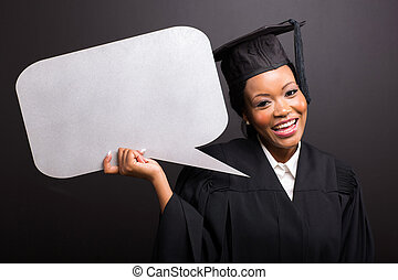 young afro american graduate with blank text bubble
