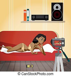 Young afro woman in her underwear leads an erotic broadcast. The girl in virtual sex. Flat cartoon vector illustration