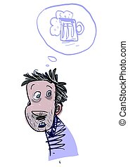 Young Alcoholic Man. Vector Illustration