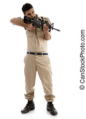 young american guard targeting with white background