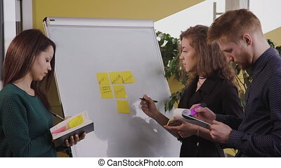 Young american team working with marketing strategy standing...