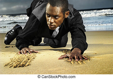 young man in suit crawling on the beach
