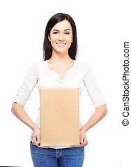 Young and attractive girl with a cardboard box isolated on white