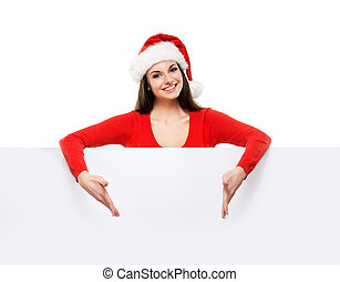 Young and attractive teenager girl with a blank billboard isolat