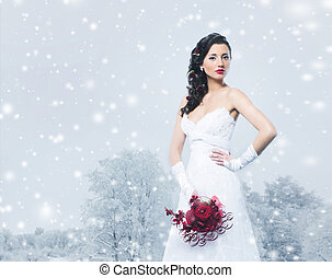 Young and beautiful bride with the flower bouquet in winter fore