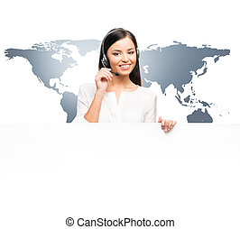 Young and beautiful customer support operator - Young,...