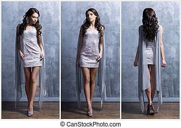 Young and beautiful woman in a fashion dress