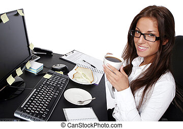 young and beautiful woman in office