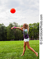 woman playing volleyball