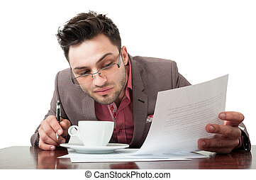 Young and handsome lawyer smelling the  coffee
