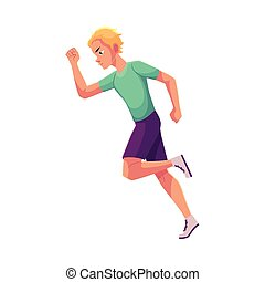 Young and handsome male runner, sprinter, jogger