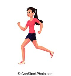 Young and pretty female runner, sprinter, jogger