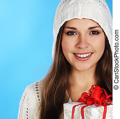 Young and sexy woman in Christmas style