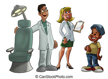 young and smiling dentist with a chair