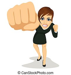 young angry business woman punching to front
