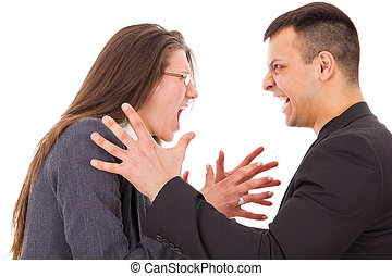 angry couple fighting wanting to strange each other