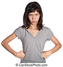 Young angry girl standing with hands on hip