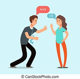 Young angry man and woman couple have quarrel. Unhappy family conflict, disagreement in relationship vector concept