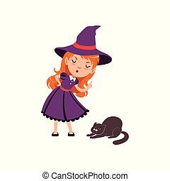 Young angry red-haired girl witch wearing purple dress and hat. Smiling kid character in costume scolds a cat. Trick or Treat Halloween concept. Vector flat cartoon illustration isolated on white.