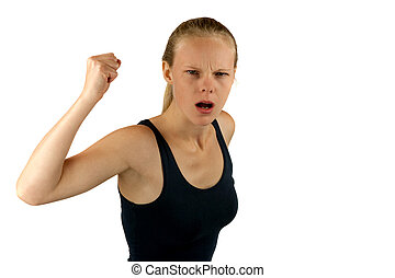 Young angry woman on white background