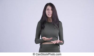 Young angry woman talking and complaining