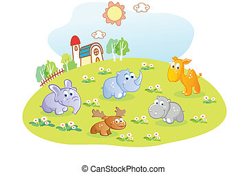 young animals in the home garden