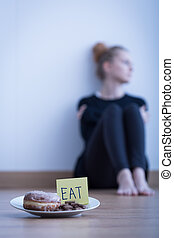 Young anorexic girl - Image of young anorexic girl refusing...