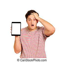 Young anxious holding his head with hands. Worried guy holding tablet blank screen. emotional guy isolated on white background