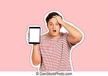 Young anxious holding his head with hands. Worried guy holding tablet blank screen. emotional guy isolated on white background Magazine collage style with trendy color