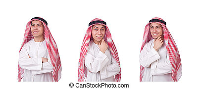Young arab man isolated on white
