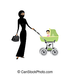 young arabic woman in hijab with a pram and baby
