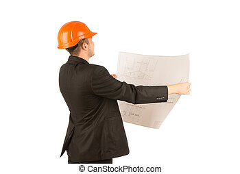 Young architect holding a blue print