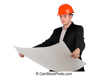 Young architect or engineer studying a plan