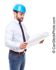 Young architect reading plan on a white background