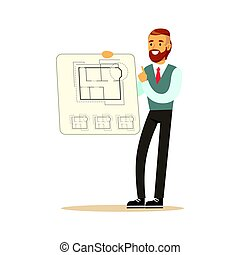 Young architect showing his project blueprint on a paper, colorful character vector Illustration