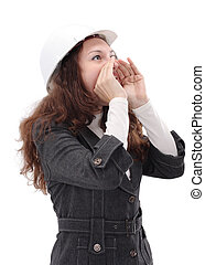 Young architect woman wearing a protective helmet, standing. Isolated on white background