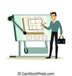 Young architect working on his project on a drawing board, colorful character vector Illustration