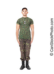 Young army soldier standing in attention - Full length...
