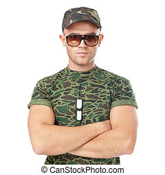 Young army soldier wearing sunglasses