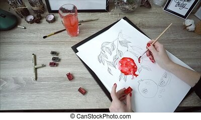 Young artist woman painting still life picture - A young...