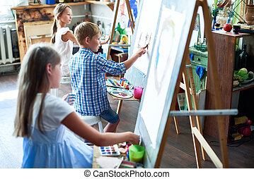 Young Artists in Art Class