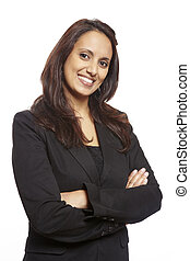 Young asian adult business woman smiling on white background