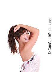 Young Asian American teen girl big smile