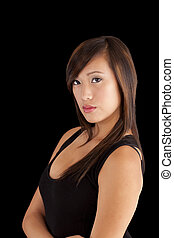 Young Asian American Woman Attractive Black Top
