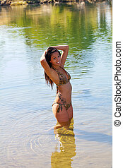 Young Asian American Woman Bikini River Smiling