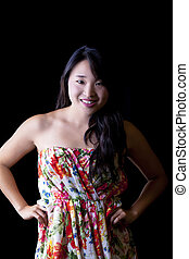Young Asian American Woman Dress Attractive Studio