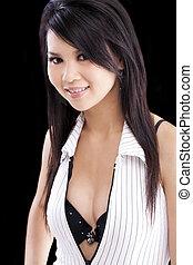 Young Asian American Woman Open Shirt Bra