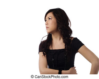 Young Asian American Woman Profile Looking To Side