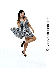 Young Asian American Woman Standing Dress Shoes